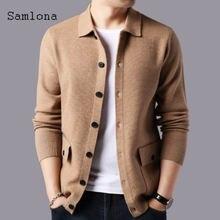 Samlona мужской модный Корейский минималистский свитер Повседневный