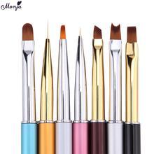 Monja 1PCS Nail Art French Stripe Lines Liner Painting Brush Metal Handle Acrylic UV GEL Extension Builder Image Drawing Pen