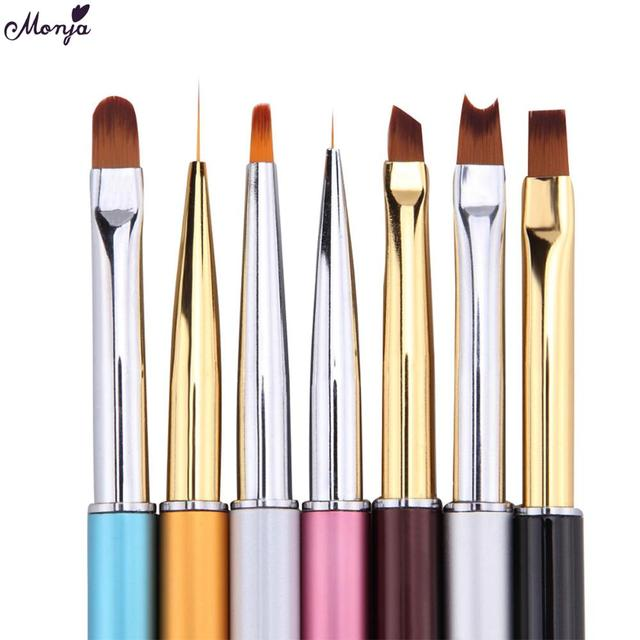 Monja 7 Styles Nail Art French Metal Handle Stripe Lines Liner Image Painting Brush Acrylic UV GEL Extension Builder Drawing Pen
