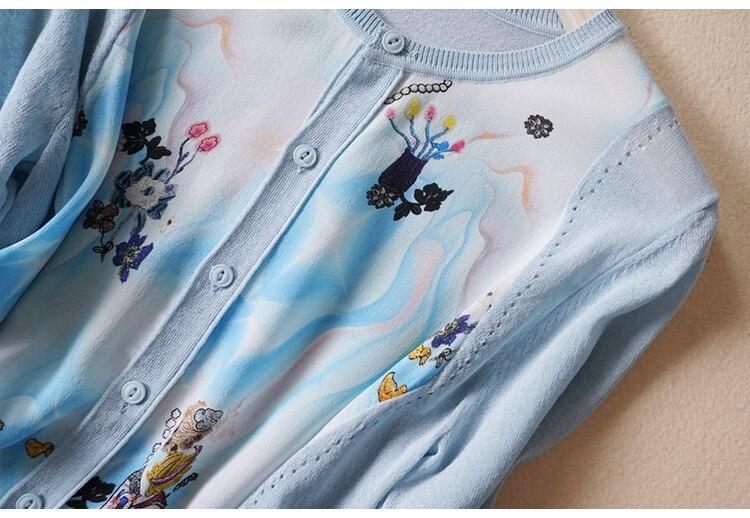 Nuevo viento en primavera y verano cuello en v impreso mangas de seda aire acondicionado cardigan se previene en la ropa - 3