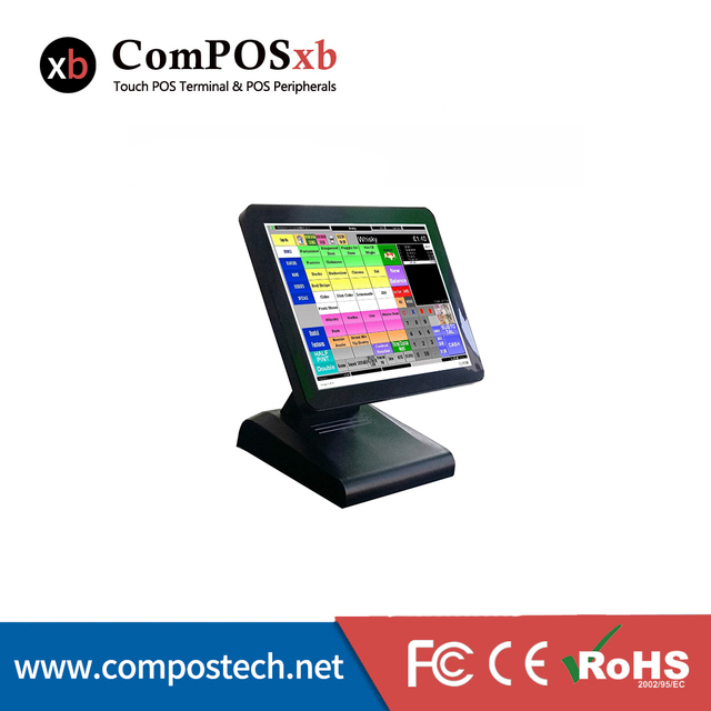 Système de point de vente à écran tactile capacitif TFT LCD de 15 pouces, 4G de RAM, pour café 2