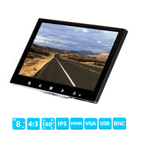 HDMI VGA AV BNC input Car Monitor 8 inch TFT LCD monitor For Rear View Reverse Camera Mini TV View Computer Security Display