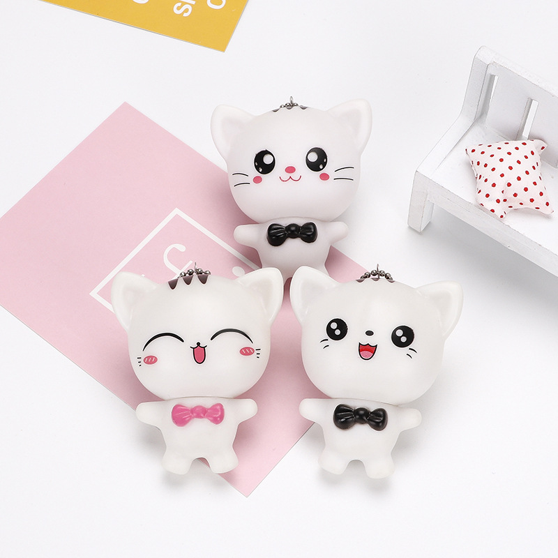 Loverly Cat Key Chain,Cartoon Doll Toy Key Chain For Mobile Phones Car Keys Bags Children Girl Gift
