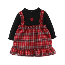 Children Clothes Girl Dress Casual Autumn Baby Cute Plaid Fake Two Piece Thick Girls Sweet Princess