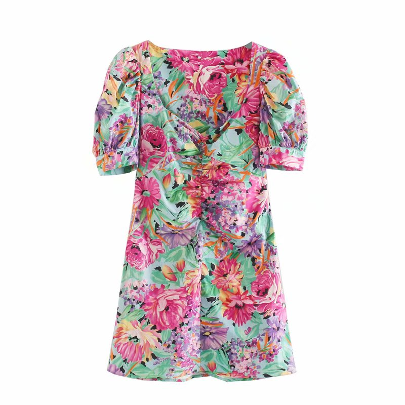 New 2020 women elegant v neck chest pleats flower print casual slim dress chic female puff sleeve vestidos party dresses DS3670