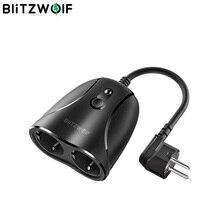 Blitzwolf tomadas duplas 16a ip44 smart wifi soquete 3680w eu/1760w us plug outdoor controlador trabalho soquete adaptadores plugues