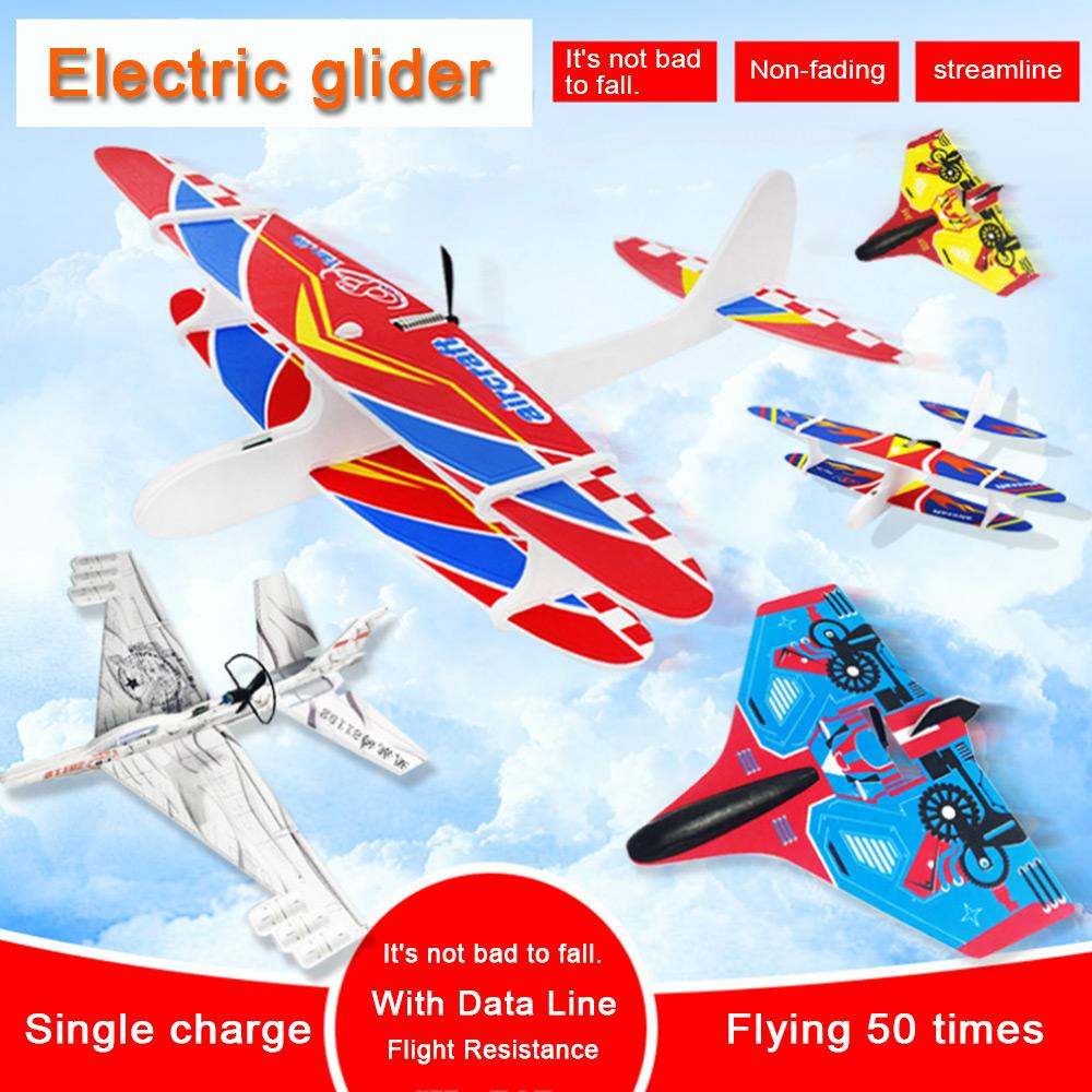 LED Airplane Toys USB Hand Throw Electric Glider Plane Foam Fly Toy Aircraft Model Educational Toys For Children Gifts