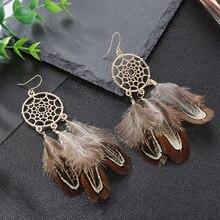 цена на Bohemian Feather Tassel Earrings For Women Ohrringe Vintage Dreamcatcher Statement Earrings Kolczyki Boho Summer Jewelry