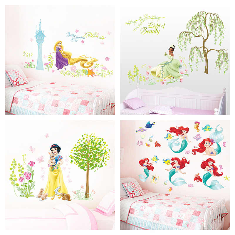 Cartoon Disney Snow White Tiana Princess Flowers Garden Wall Stickers For Kids Room Decoration Diy Mural Art Girl's Wall Decals
