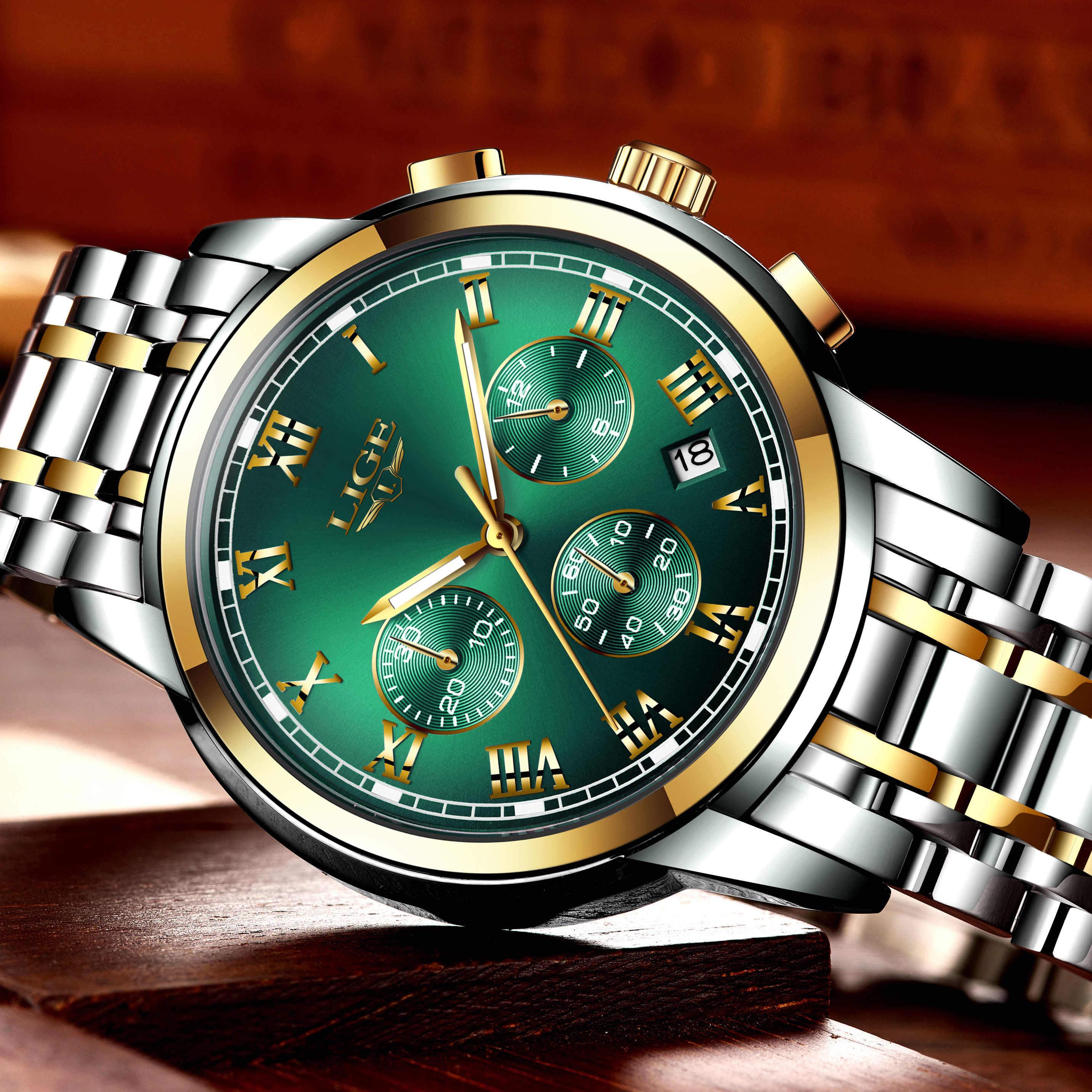 Relojes Hombre 2020 Ini Baru Merek Mewah Jam Tangan Pria Chronograph Pria Sport Jam Tangan Tahan Air Stainless Steel QUARTZ Pria Jam Tangan