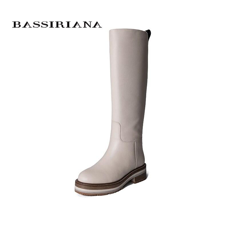 BASSIRIANA2019 autunno e di inverno delle nuove donne di cuoio stivali di pelle bianca non-antiscivolo suole di stivali femminili stivali piatti.