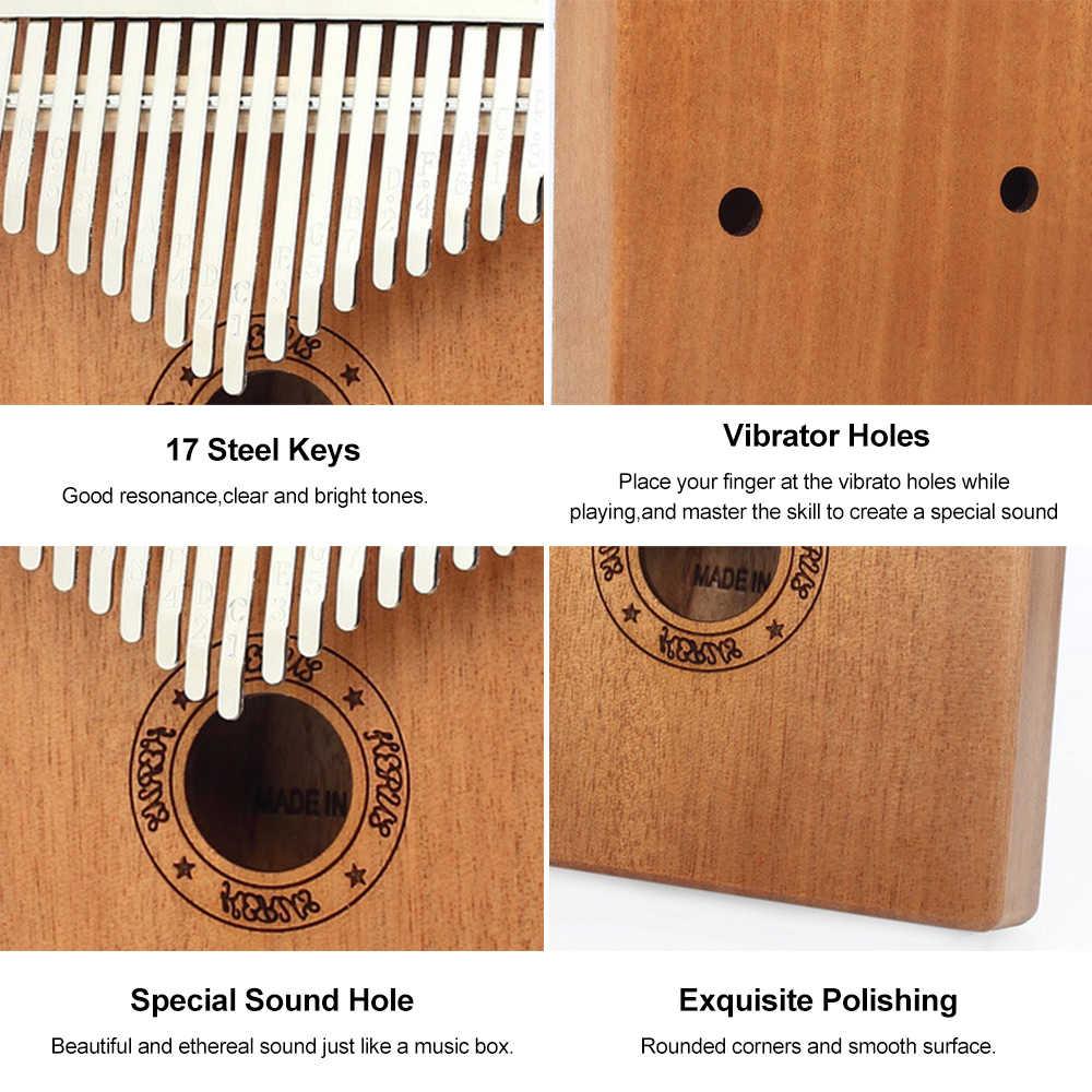 Sfit 17 Toetsen Kalimba Duim Piano Hout Mahonie Body Muziekinstrument Met Leren Boek Tune Hamer Voor Beginner Kalimba Tas