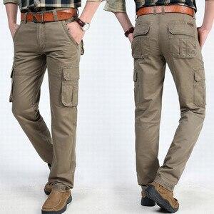 Image 2 - Yeni kargo pantolon erkekler çok cepler Baggy erkek pantolon askeri günlük pantolon tulum ordu pantolon Joggers artı boyutu 40 42 44 pamuk