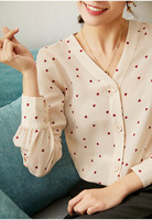 Women Shirt Love Peach Heart Printed Silk Shirt Female Spring 2020 New Long sleeved V neck Silk Shirt