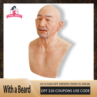 Drag Queen Realistic Silicone Old Man Face Festival Party Halloween Ball Supplies Crossdresser Realistic Human Skin