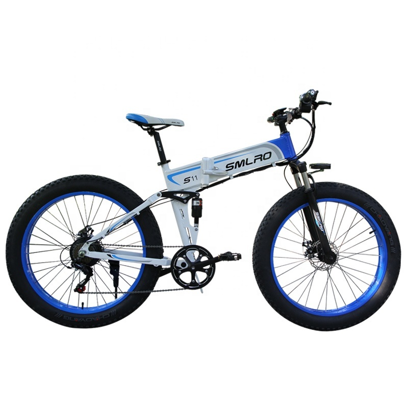 "S11F 26"" 48v 10AH 350W folding fat tire electric bicycle with hidden battery 2"