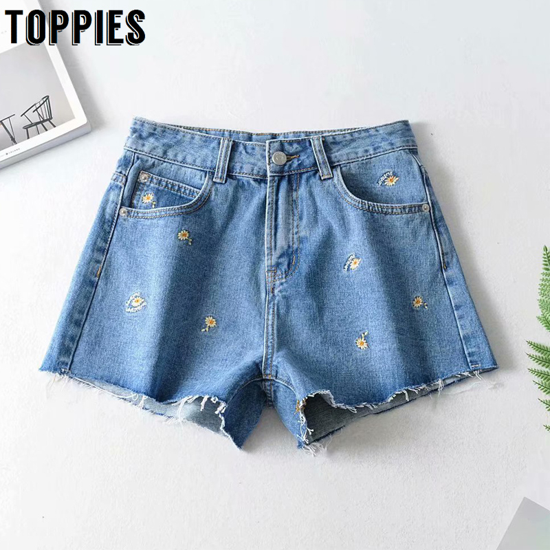 Jean Shorts Flowers Embroidery Booty Shorts High Waisted Women Summer Hots Bottoms Ripped Tassel Hem
