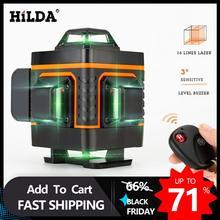 Hilda 16 linhas nível de laser 4d auto nivelamento 360 horizontal e vertical cruz super poderoso laser verde nível
