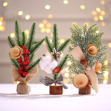 Ornamentos de natal mini árvore de natal ornamentos de simulação de mesa árvore de natal