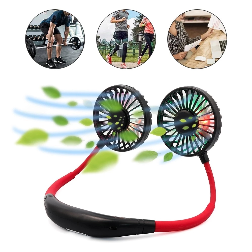 Mini Portable Hanging Neckband Fan USB Rechargeable Double Fans Air Cooler Conditioner Colorful Aroma Electric Desk Fan For Room 1