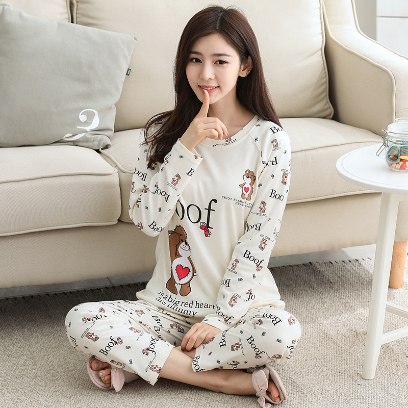 Autumn New Style Knitted Cotton Long Sleeve Pajamas Women Crew Neck Large Size WOMEN'S Suit Korean-style Simple Casual Tracksuit