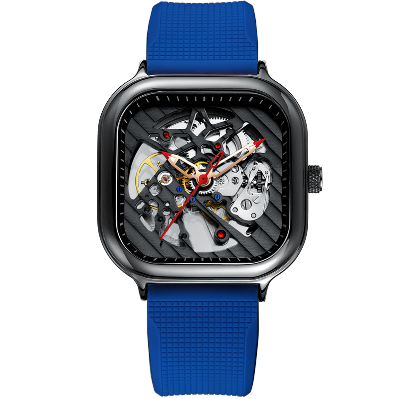 2020 new men's automatic watch top brand luxury silicone strap hollow Swiss square top ten watches 14