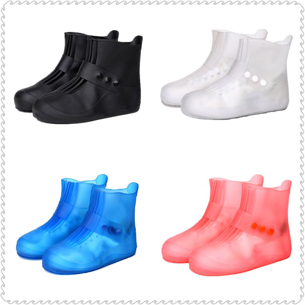 Solid Men Rain Boots Waterproof Rubber Women Rain Shoe Covers Frosted Girls Galoshes Overshoes Boy Shoe Protectors Rainboots