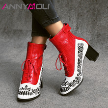 все цены на ANNYMOLI Autumn Ankle Boots Women Boots Embroider Chunky High Heel Short Boots Zipper Round Toe Shoes Lady Winter Red Size 33-43 онлайн