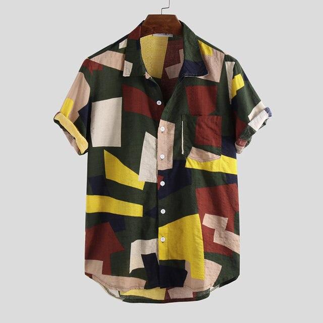 Summer Mens Shirts Cotton Linen Blouse Shirt Short-sleeve Button-down Print Loose Hawaiian Shirt Blouse Beach Undershirt Soft 3