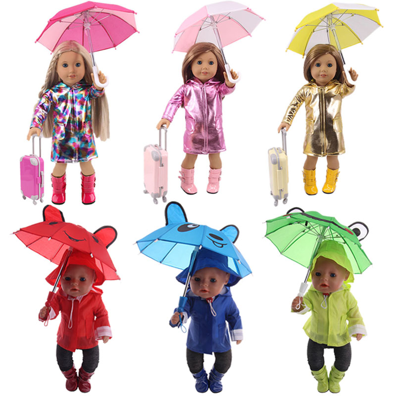 Doll Raincoat Set=Suitcase+Rain Suits+Boots+Umbrella For 18 Inch American&43Cm Baby New Born Doll Girl`s Toy Accessories Clothes(China)