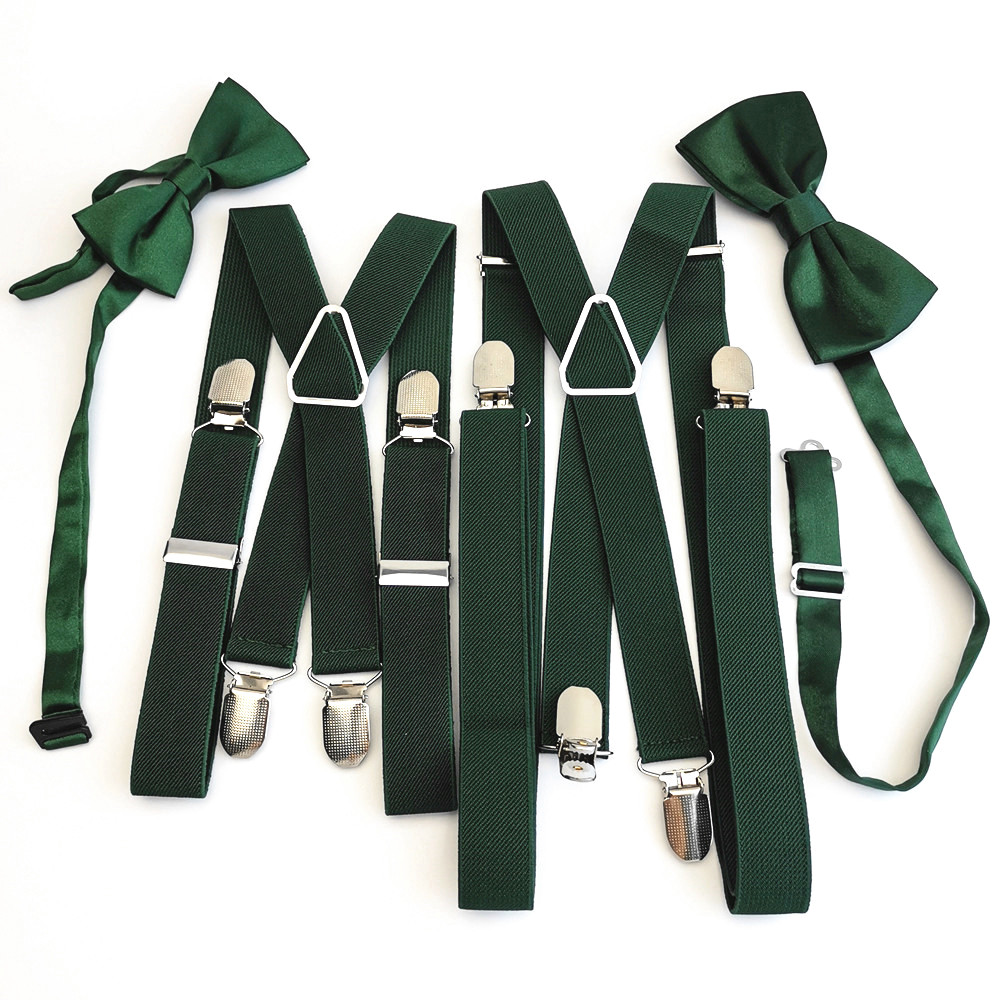 Blackish Green Men's Women Suspenders Bow Tie Sets High Elastic Strap Strong 4 Clips-on Suspender Neck Tie Set Adult Kids Boys
