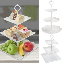 3 Tier Cake Stand Afternoon Tea Wedding Plates Party Tableware New Bakeware Plastic Tray Display Rack Cake Decorating Tools#A