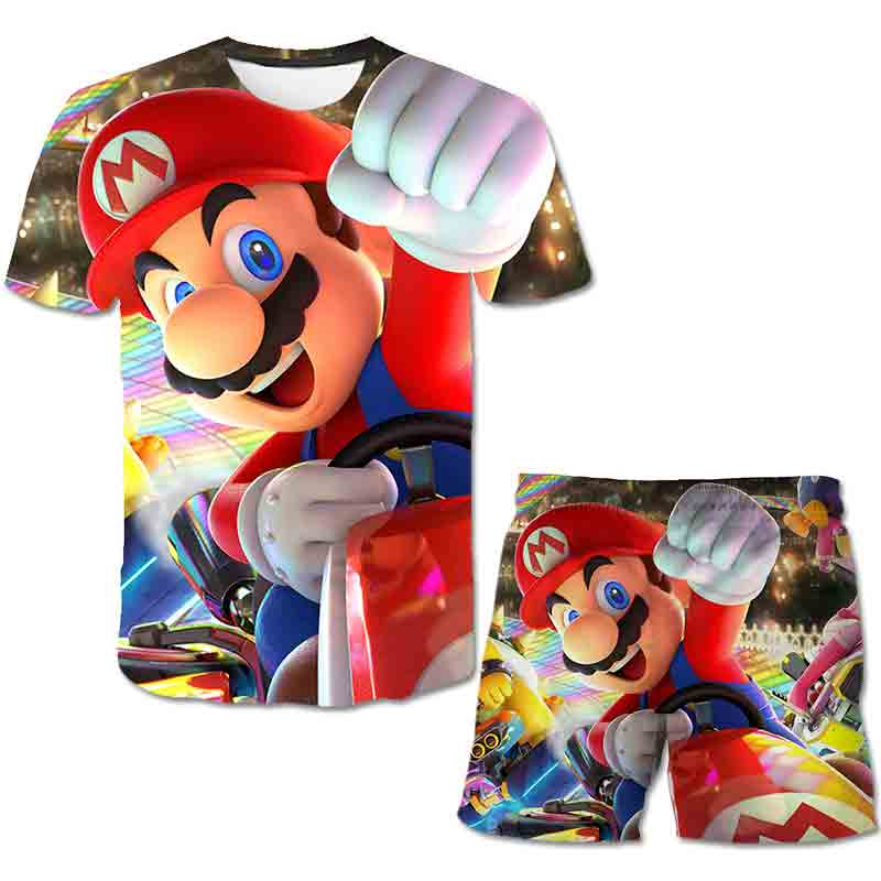 Kids 3D Clothes Mario Boys Cartoon Outfits Baby Girls 2021 Summer Tees Suits 4-14 Years Children Clothing T-shirt + Shorts 4-14T