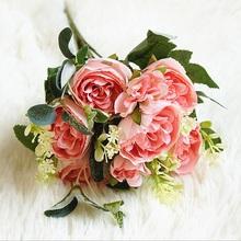 30cm róże różowy jedwabiu piwonia sztuczne bukiety kwiatowe 6 duża głowa i 2 Bud tanie sztuczne kwiaty do dekoracji ślubnej domu kryty tanie tanio Bukiet kwiatów Ślub