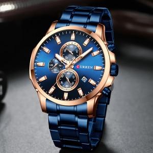 Image 3 - CURREN Men Luxury Brand Quartz Watch Military Watch Fashion Causal Chronograph Clock Stainless Steel Wristwatch Montre Homme