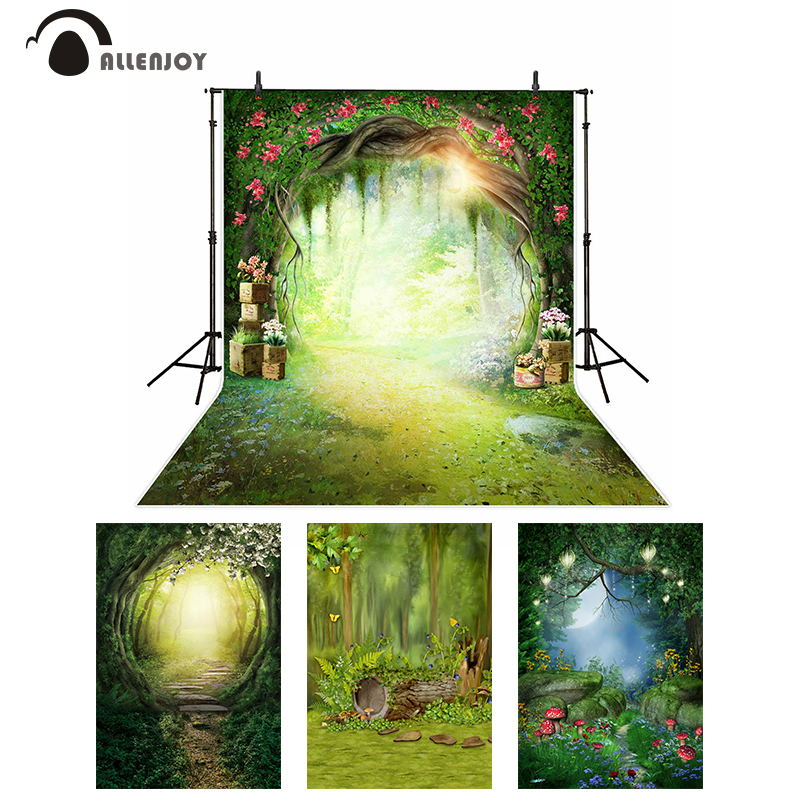 Allenjoy Spring Backdrop Wonderland Moon Party Flowers Forest Mushroom Photography Background Kids Fairy Tale Photophone Banner