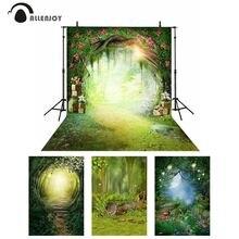 Allenjoy primavera cenário país das maravilhas lua festa flores floresta cogumelo fotografia fundo crianças conto de fadas photophone banner