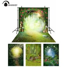 Allenjoy spring backdrop in wonderland party flowers snow white Forest photography background child fairy tale photophone