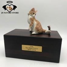 Free shipping 1pcs custom letter logo moisture-proof pet dog cat bird lizard cremation funeral memorial cinerary caskets