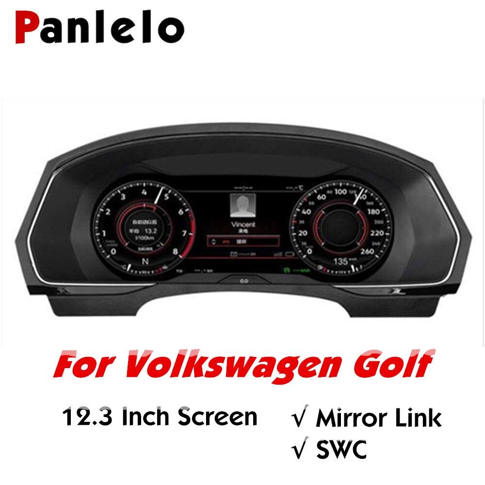 Panel de instrumentos Panlelo 12,3 navegador con instrumento inteligente de cristal líquido para Volkswagen Golf 2019 Wifi Airplay
