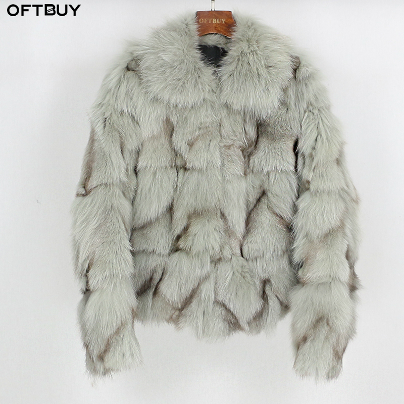 OFTBUY 2019 New Fashion Winter Jacket Women Natural Real Fox Fur Coat Parka Thick Warm Short Outerwear Streetwear Casual Luxury