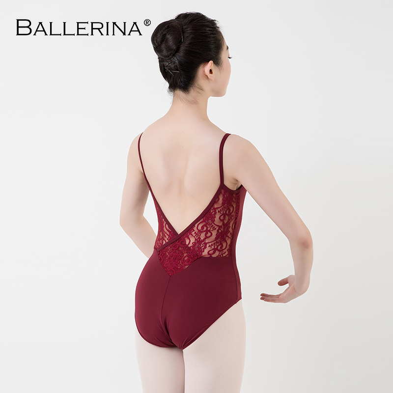 Women Ballet Practice Leotard Mesh Sling Lace Sexy Gymnastics Leotard Black Mesh Dance Costume Ballerina 5019