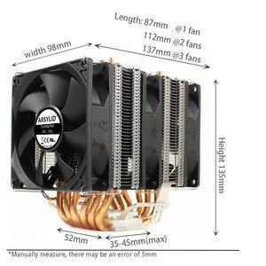 Image 2 - Ryzen радиатор 6 Тепловая Труба Двойная башня охлаждения 9 см вентилятор Поддержка 3 вентилятора 4pin PWM CPU кулер AM3 AM4 FM2 775 115X 1366 cpu Радиатор