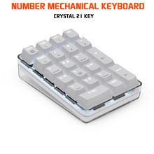 Crystal 21 Key Numerico USB Wired Mechanical Keyboard Led White Light Gateron Blue Axis For Computer Gaming Laptops Gh60 Xd60(China)