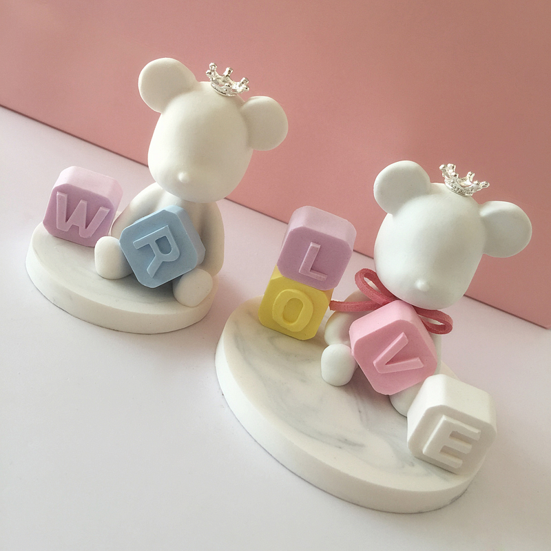 Alphabet Block Mold Aroma Gypsum Plaster Numbers Molds Letters Concrete Mold Concrete Bear Decoration Mold