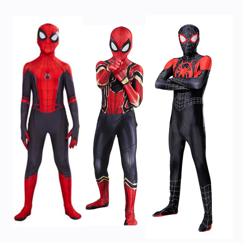 Kids Boys Spider Man Far From Home Peter Parker Cosplay Costume Zentai Iron Spiderman Miles Morales Bodysuit Suit Jumpsuits