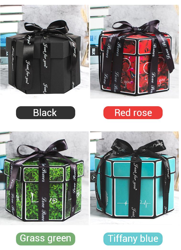 Hexagon Surprise Explosion Box DIY Handmade Scrapbook Photo Album Wedding Gift Box for Valentine Christmas Gift Boxes 10