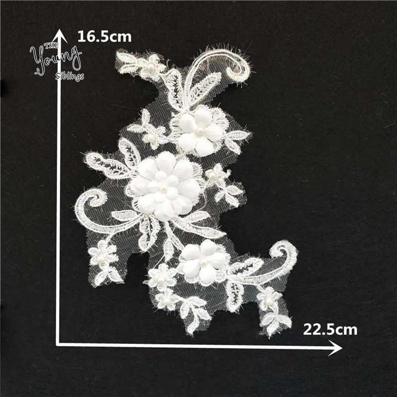 Exquisito cosida a mano apliques de encaje de 3D flor bordado encaje escote vestido de boda decoración de costura accesorios 1 piezas vender