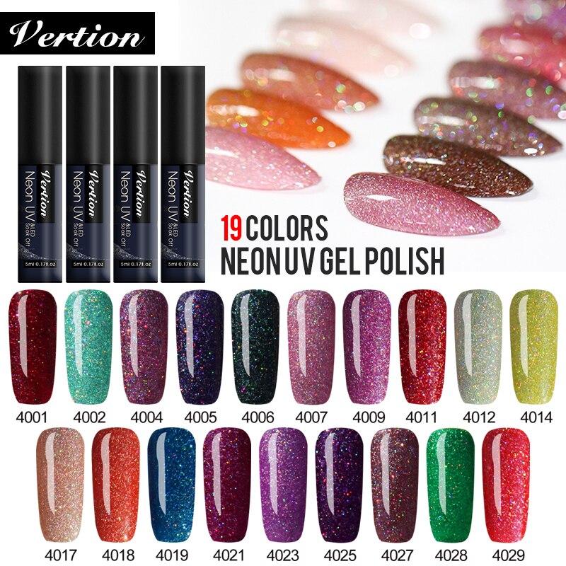 Verntion 5ml Neon Glitter Color UV Gel Nail Polish LED Lamp Shining Hybrid Nail Varnish Enamel Varnish Manicure Varnish Gel Nail
