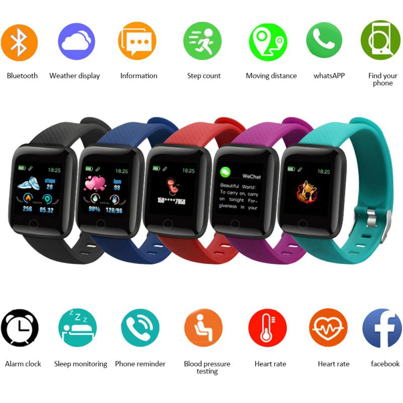 Smart Bracelet 116 PLUS Color Screen Waterproof Heart Rate Blood Pressure Monitoring Track Movement Health Pedometers Band